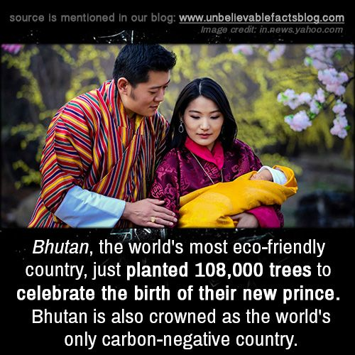 Bhutan, the World's most eco-friendly country, just planted 108,000 trees to celebrate the birth of their new prince. Bhutan is also crowned as the world's only carbon-negative country.
