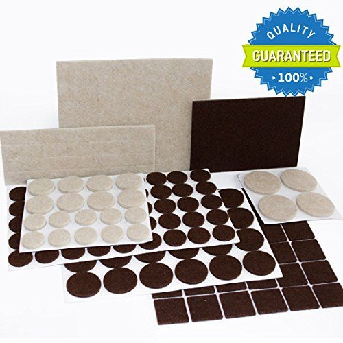 PREMIUM Furniture Pads 133 piece! Felt pads furniture feet brown Beige of  various sizes - BEST wood floor protectors. Protect your Hardwood