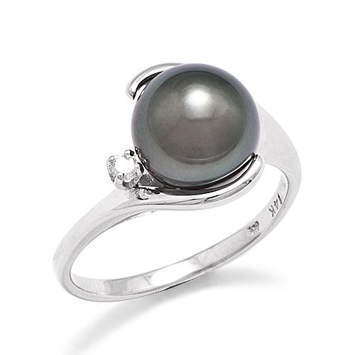 Tahitian Black Pearl Ring:: A 14K white-gold ring set with one round Tahitian Pearl, 9-10mm and blackish in color, and one faceted round Diamond totaling 0.04 carats, total weight.