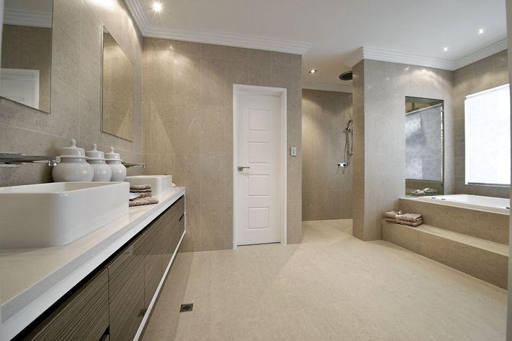Neutral, but not cream bathroom