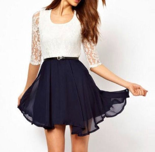 Navy Blue And White Dresses - RP Dress