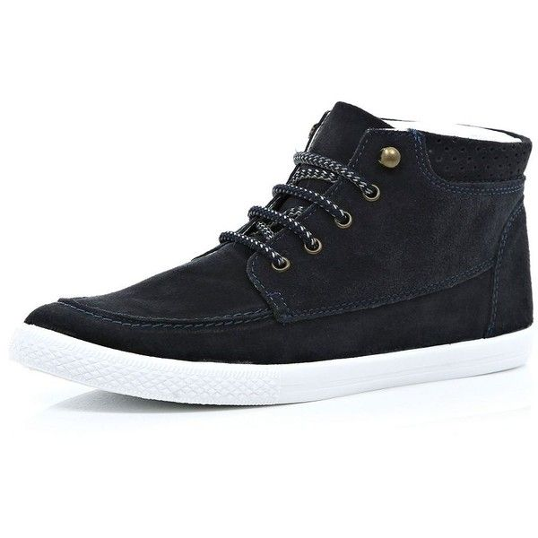 River Island Navy suede lace up trainer boots ($53) ❤ liked on Polyvore