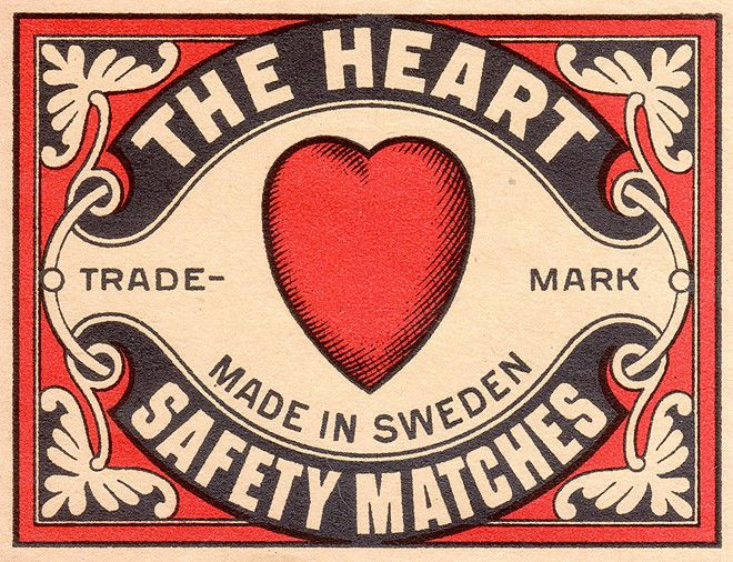 The Heart safety matches (Sweden) - red