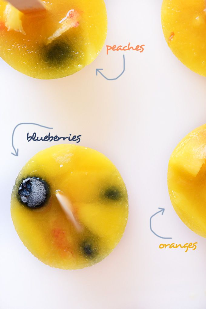 Blueberry Peach Orange Popsicles | 4 ingredients | minimalist baker | vegan