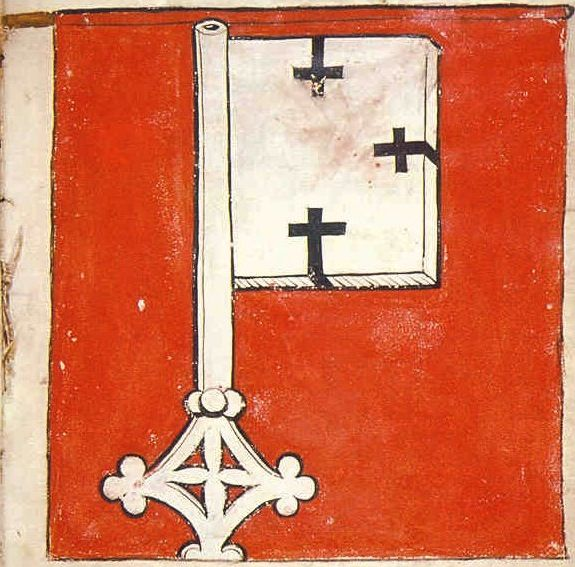 "f°6r, Teutonic Banner which was led by Thomas Moerheym, vicetreasurer of the Order -- ""Banderia Prutenorum"", by Jan Dlugosz, 1410"