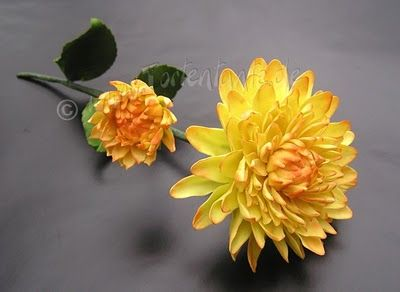 Dahlia flowers made with large and medium sized daisy cutters.