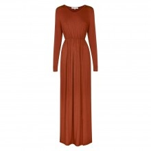 Baby Doll Maxi Jersey Dress - Rust