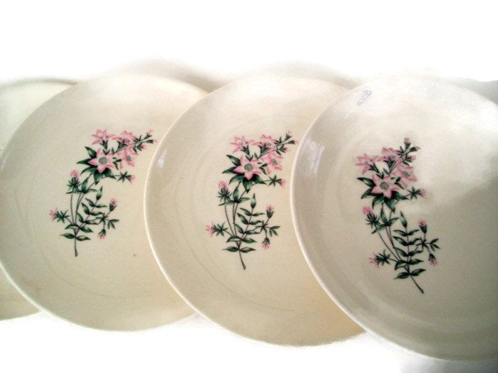 Mid Century Vintage Taylor Smith Taylor Bread and Butter Plates Ever Yours Lady Marguerite Pattern Pink and Green Set of 4 - pinned by pin4etsy.com