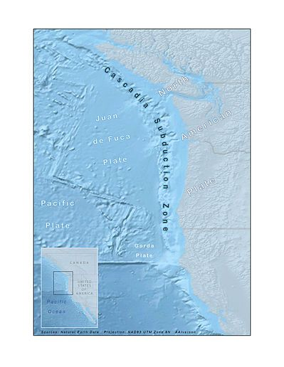 Cascadia Subduction Zone--also referred to as the Cascadia Fault, is a convergent plate boundary that stretches from northern Vancouver Island to northern California. It is a very long, sloping subduction zone that separates the Explorer, Juan de Fuca, and Gorda plates, on the one hand, and the North American Plate, on the other.