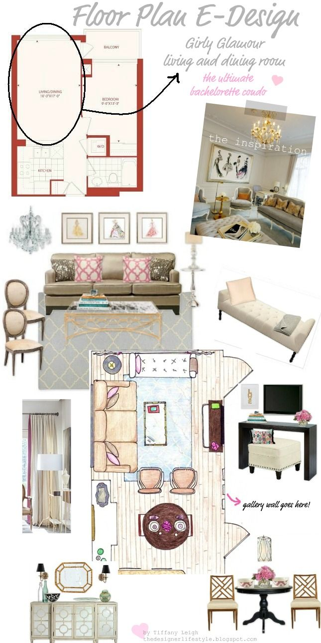 Tiffany Leigh Interior Design: Floor Plan E-Design: Girly Glamour