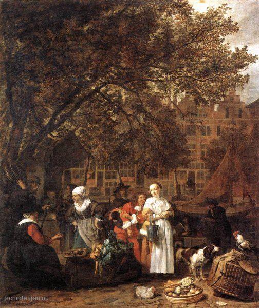 """Painting """"Plantaardige markt in Amsterdam"""" by Gabriel Metsu - www.schilderijen.nu"""