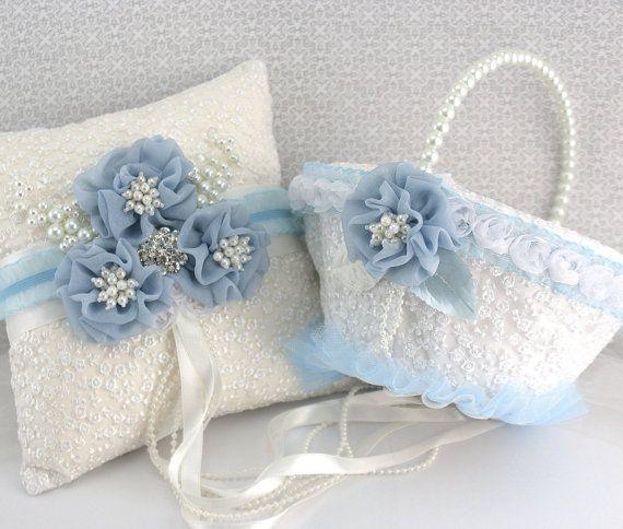 Bridal Ring Bearer Pillow and Flower Girl Basket Set ♥ by SolBijou, $185.00