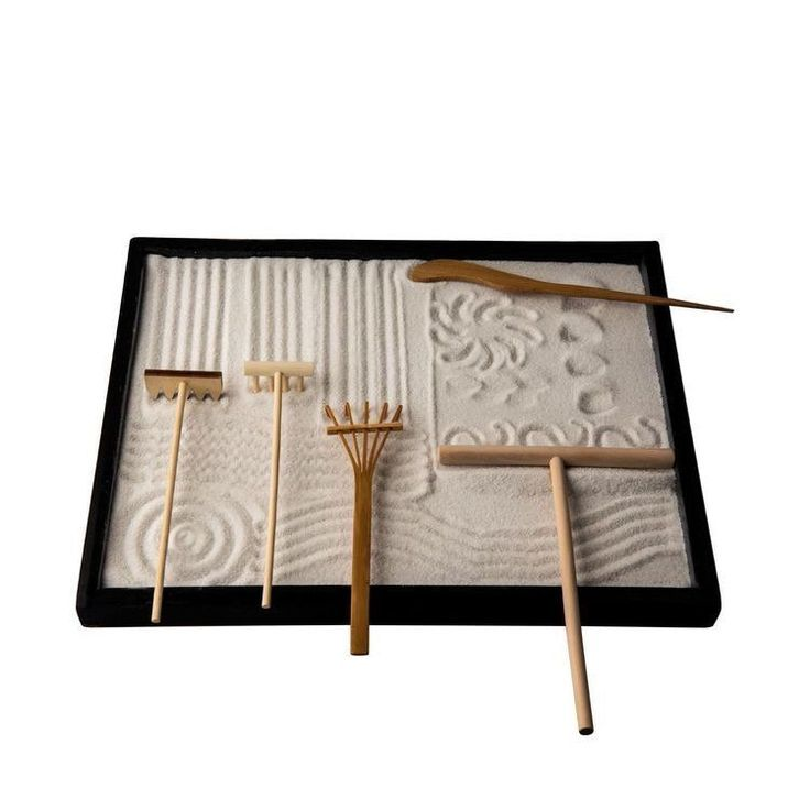ICNBUYS Professional Mini Zen Garden Tools Set three rakes One Bamboo Drawing