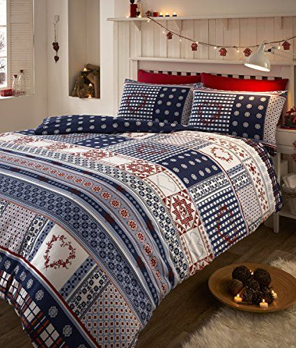 Malmo Nordic Alpine Duvet Quilt Cover King Bed Bedding Set - Navy Blue Red White