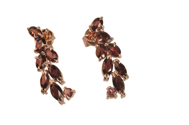 Rose gold earrings set with garnets and tourmaline  http://www.topiaryandashe.com/