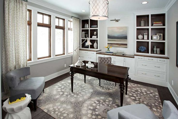 Modern Home Office Furniture House Interior Designs with black finish stained wooden office table also with charming office carpet