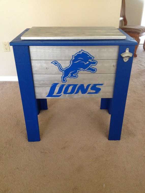 Detroit Lions wood cooler stand by CoolerTime on Etsy