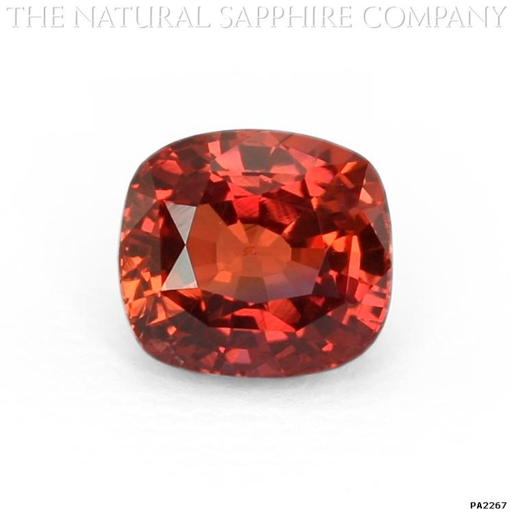 At 2.79 carats, this blood orange padparadscha sapphire is dazzling. This rare sapphire, mined in Ceylon, is considered to be one of the best in the world.