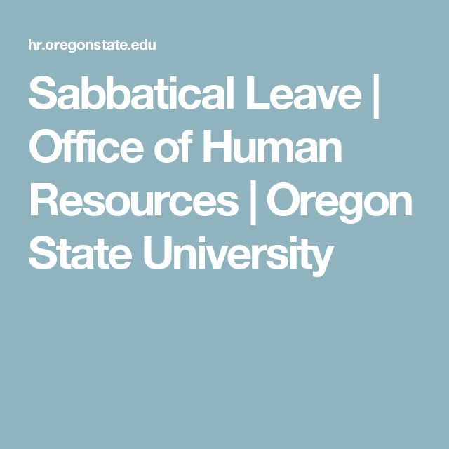 Sabbatical Leave | Office of Human Resources | Oregon State University