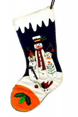 Wool Felt Applique Snowman and friends themed Stocking Large 18″ | Little Handcrafts