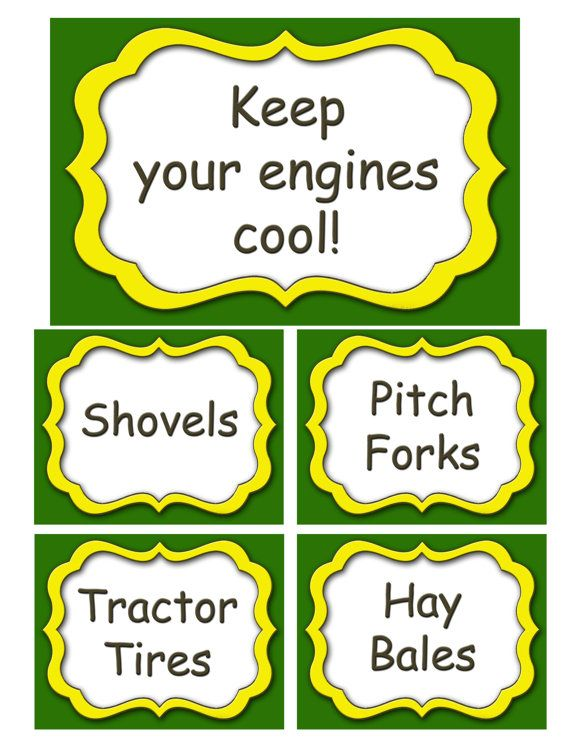 Country Tractor Digital Food Labels by JennasPhotography on Etsy