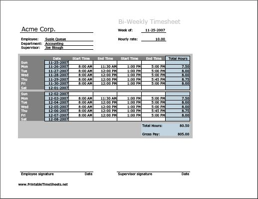 biweekly timesheet  horizontal orientation  printable time