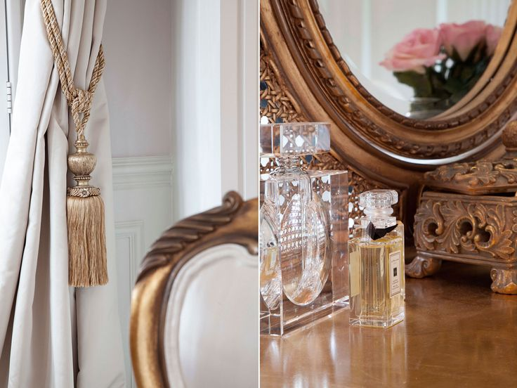 Curtain tie back and dressing table accessories detail from master bedroom inspired by Louis XV era | JHR Interiors