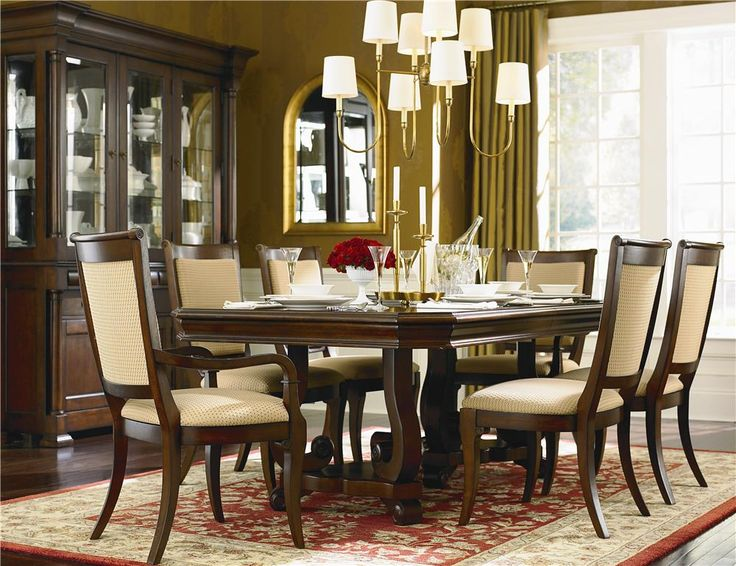 Louis Philippe Trestle Dining Table Chair Set By Bassett At Fashion Furniture