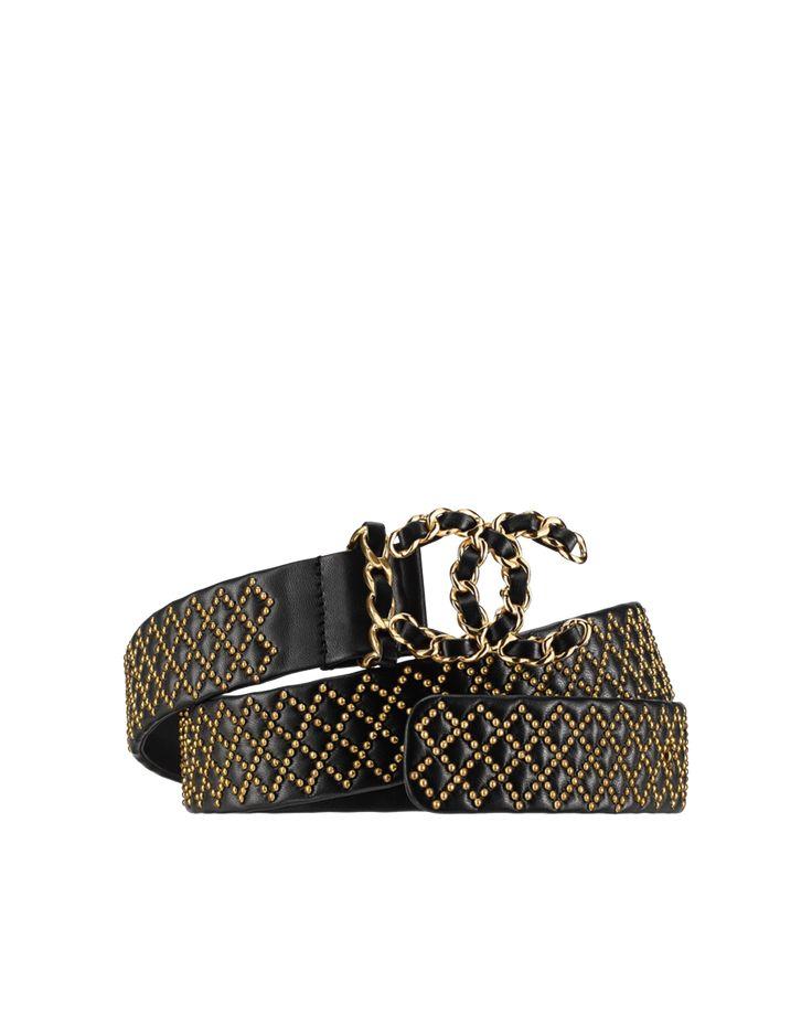 Cinturón de cuero, piel de cordero y metal dorado-negro - CHANEL