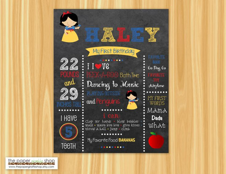 Snow White First Birthday Chalkboard Poster | Snow White First Birthday | 1st Birthday Milestone Sign | Snow White Birthday | Printable by ThePaperGiraffeShop on Etsy https://www.etsy.com/listing/259897534/snow-white-first-birthday-chalkboard