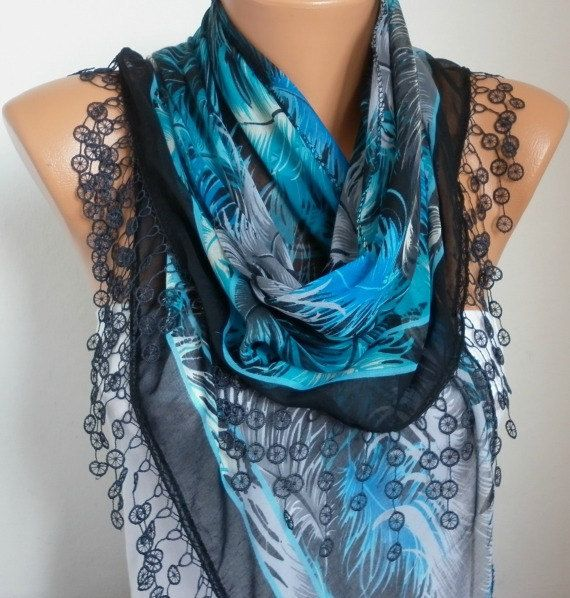Blue & Black  Feather Scarf  Oversize Scarf Cotton by fatwoman