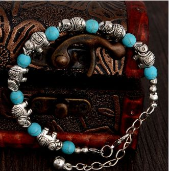 Woman's turquoise Elephant bracelet