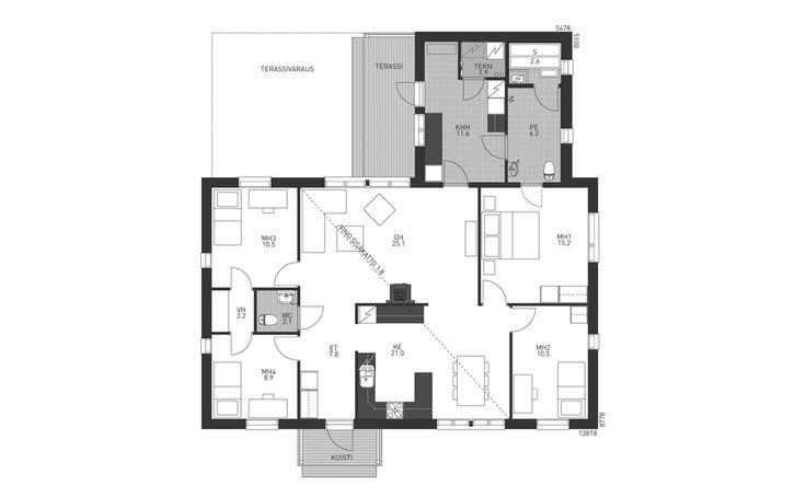 Kodikas omakotitalo, jossa käytännöllinen L-mallinen pohja. Makuuhuoneet on sijoitettu talon reunoille, omaan rauhaansa. Suurimmasta makuuhuoneesta on kulku pesutiloihin ja kodinhoitohuoneeseen. Pienempien makuuhuoneiden välissä on kätevästi vaatehuone. Avaran olohuoneen keskellä takkavangitsee katseen.