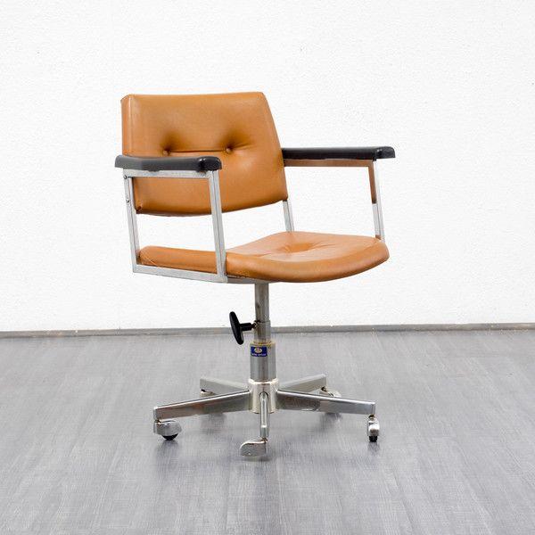 Vintage Stühle - 60er Jahre Schreibtischstuhl mit Chromfuss - ein Designerstück von Velvet-Point bei DaWanda