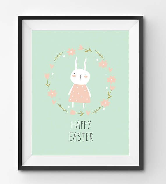 Happy Easter Bunny with Flowers Art Print Happy Easter