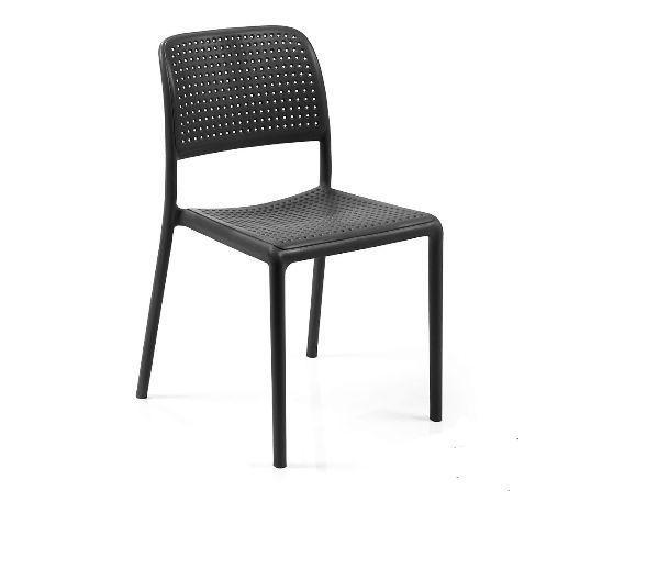 Bistro Chair Grey Colour Matt Finish Plastic Resin Lawn Garden Outdoor Furniture