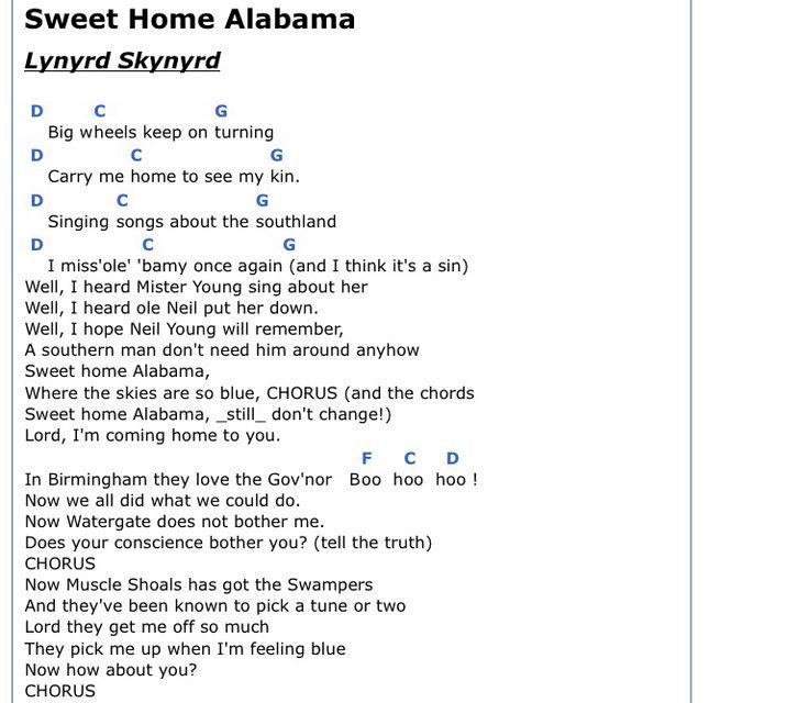 Remember Me Lyrics Sheet Music: The 25+ Best Sweet Home Alabama Chords Ideas On Pinterest