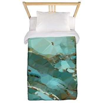 Blue Green Geode Low Poly Twin Duvet Cover