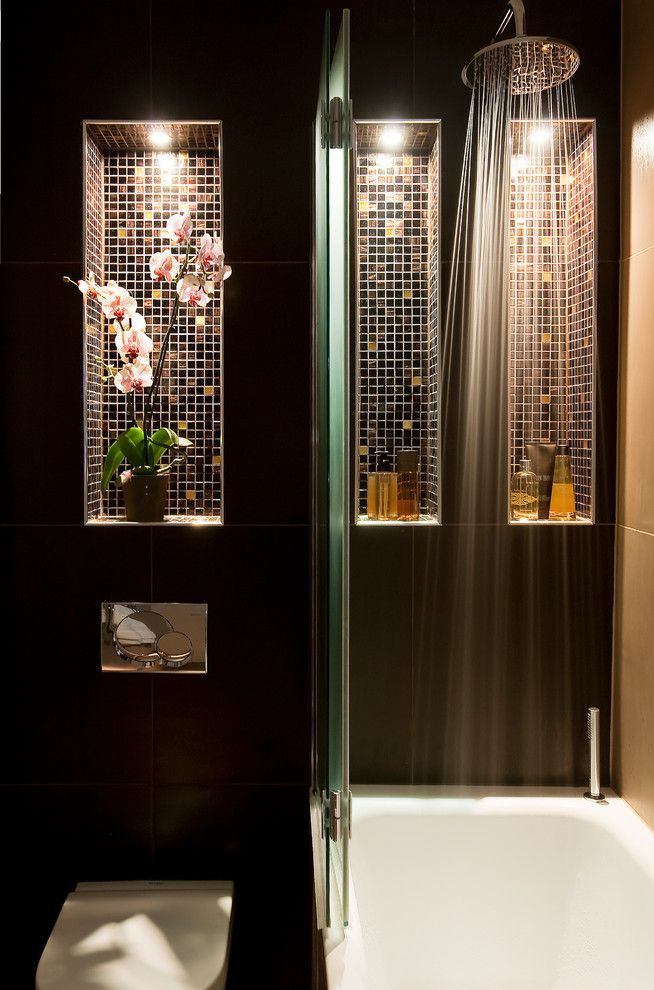 Asian bath with lighted recessed shelves tiled shower for Asian design bathroom