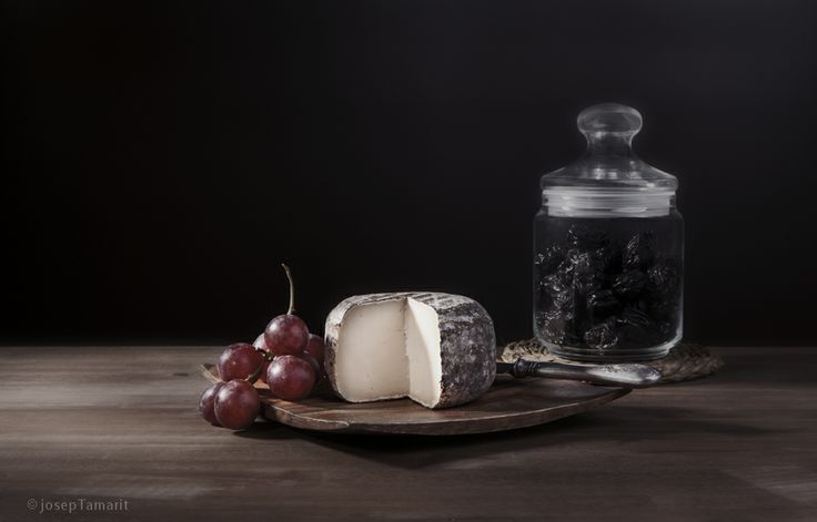 Cheese, grapes and plums.