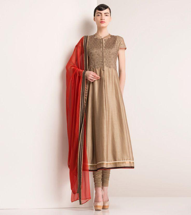 Brown Chanderi Silk Embellished Anarkali Suit