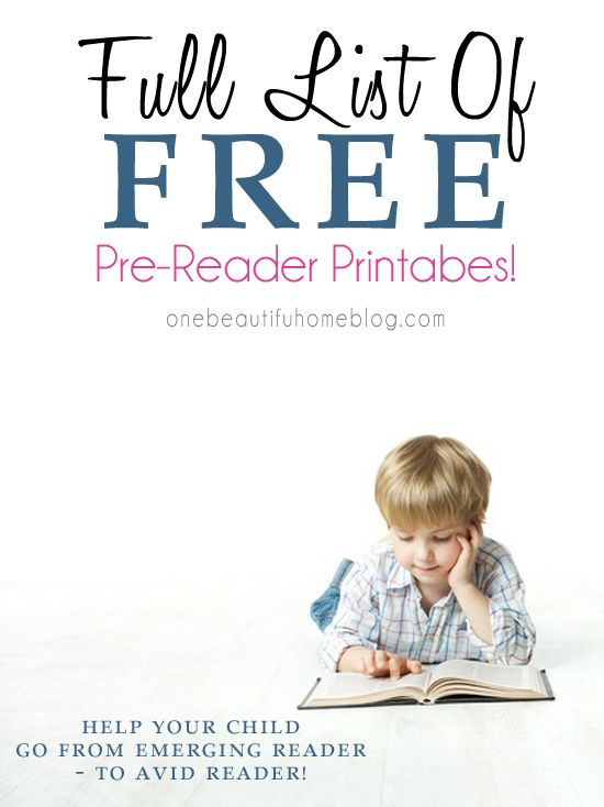 Full List of FREE printables that will help your child begin to read!