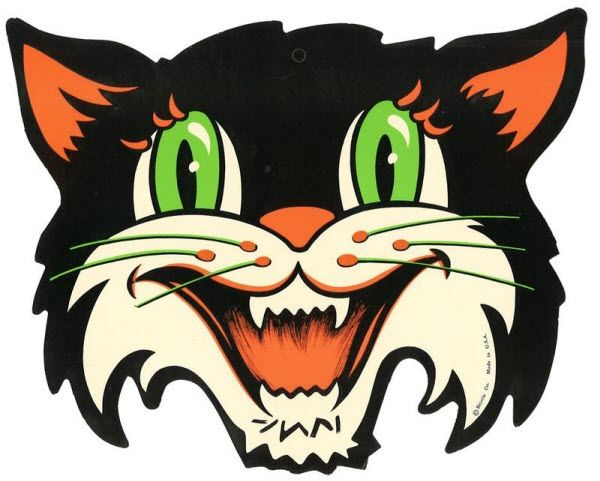 vintage beistle halloween decoration of a black cat with green eyes - Halloween Vintage Decorations