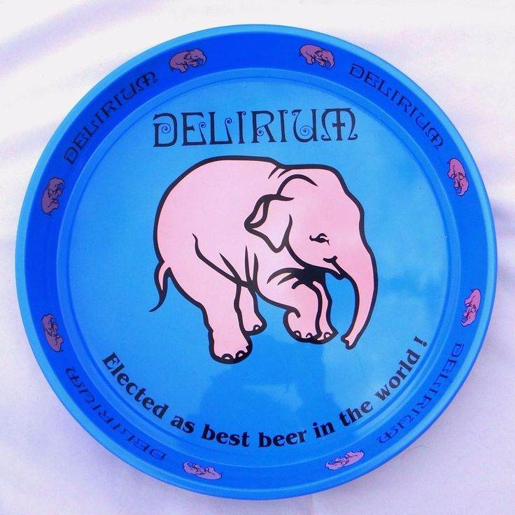 Delirium Tremens Beer Serving Tray Round Metal Blue With