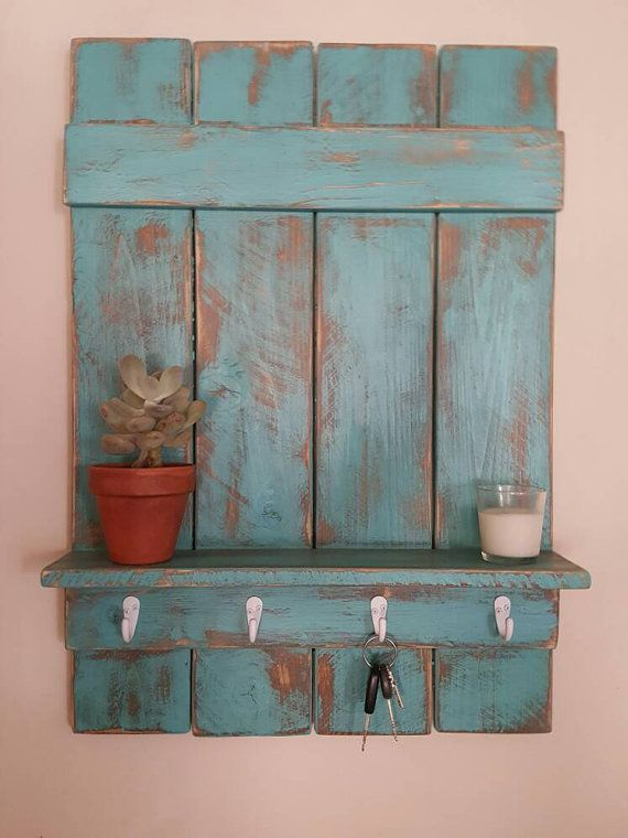 Rustic entryway shelf with hooks, bathroom shelf, coat hanger, key hanger,  handmade, distressed wood, cottage chic, available in any color