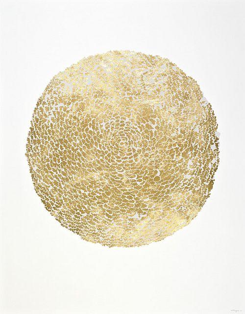 'awakening' ~ Camilo Villegas White ink on gold leaf