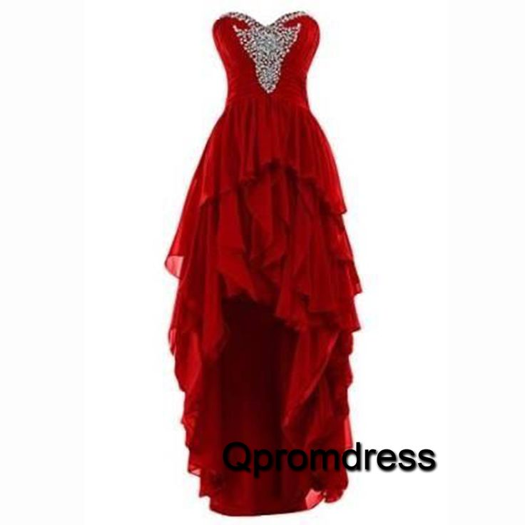 Cheap sweetheart red chiffon high-low homecoming dress, prom dress