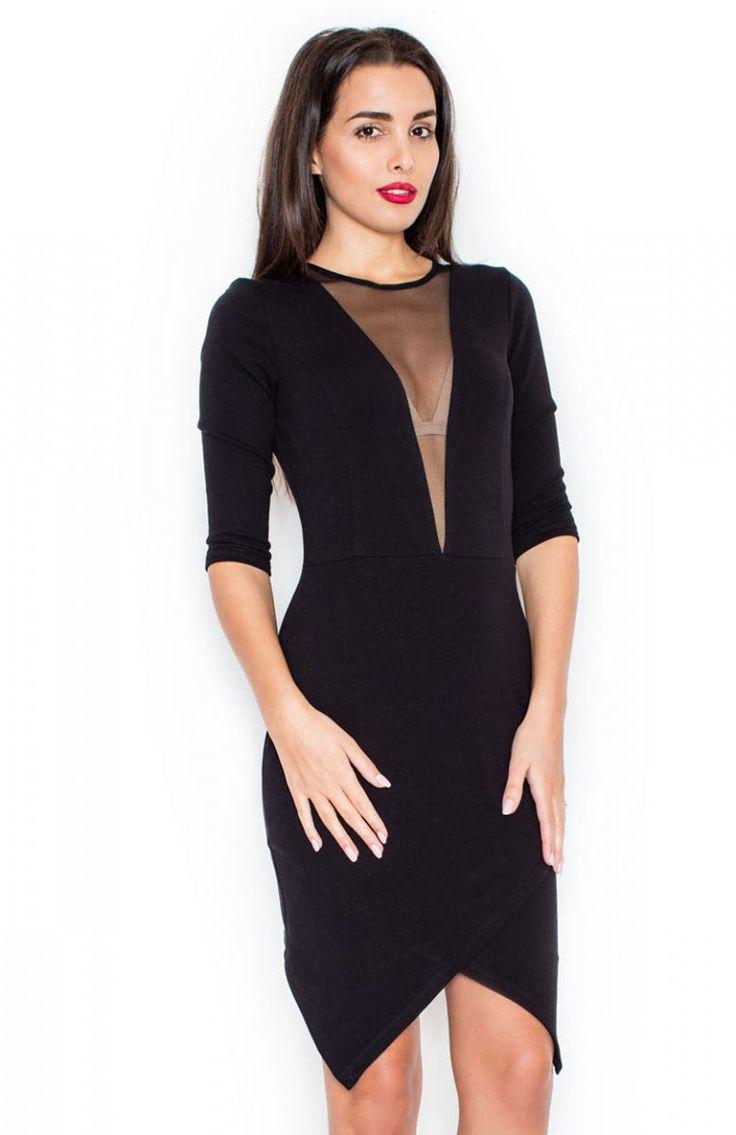 Katrus K320 sukienka czarna Przepiękna sukienka, wykonana z miękkiej bawełny, dół zakładkowy