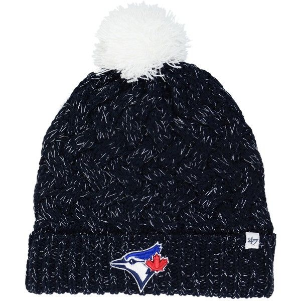 '47 Brand Women's Toronto Blue Jays Fiona Pom Knit Hat (40 CAD) ❤ liked on Polyvore featuring accessories, hats, '47 brand, knit pattern hat, knit hat, pom pom hat and 47 brand hats