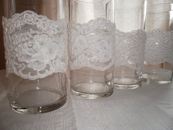 Centerpiece lace vases shabby chic trim
